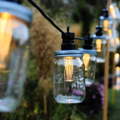 3m lampiņu virtene MASON JAR ar saules baterijām