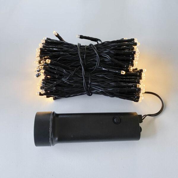 15m gara āra spuldžu virtene ar baterijām WARM & BLACK IP44