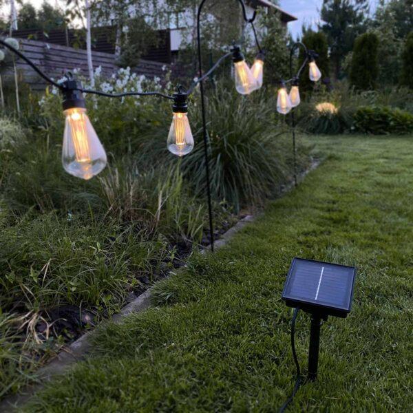 Lampiņu virtene BIG EDISON BULB ar saules baterijām